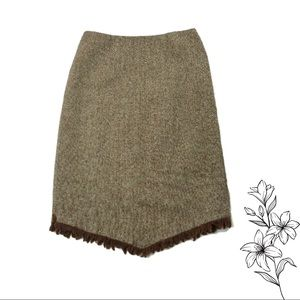 J Crew Brown Wool Tweed Straight Skirt Size S